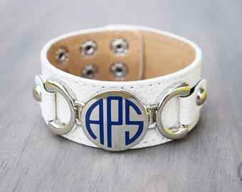 Monogrammed {CREAM} leather bracelet, monogram bracelet, personalized leather bracelet, ladies leather bracelet, initial bracelet