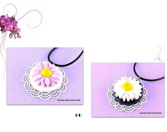Necklace flower pendants fimo to choose pink or white Daisy