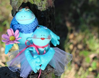 Textile toys Frog, A couple of textile Frog, Frogs, Gift for twins, Wedding gift, Wedding Anniversary Gift, Mr. and Mrs. Frog, Mr. and Mrs