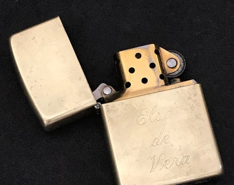 Zippo Solid Brass Lighter Monogrammed Collectible Tobacciana Collector Made in USA