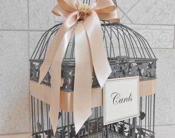 Gray and Blush Wedding Card Box | Wedding Card Holder | Birdcage Card Holder | Wedding Decor | Gray Birdcage