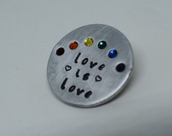 Love is Love, Pride Inspired, Crystal Rainbow Pin