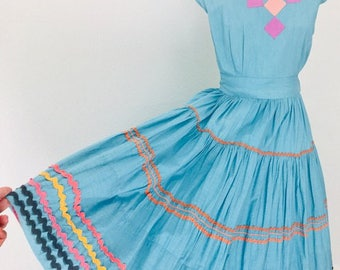 Vintage 50's Nantucket Cotton Day Dress | M