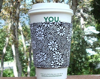 FREE SHIPPING UPGRADE with minimum -  Fabric coffee cozy / cup sleeve / coffee sleeve / coffee cup cozy -- White Daisy Flowers on Black