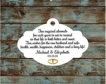 Favor Tags, Jordan Almond Favor Tags, Sugared Almond Favor Tags, Italian Wedding Favor Tags with Gold Hearts #788 - Quantity: 30 Tags