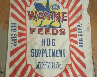 "Vintage seed sack ""Wayne Feeds Hog Supplement"" Farmhouse decoration Rustic DIY"