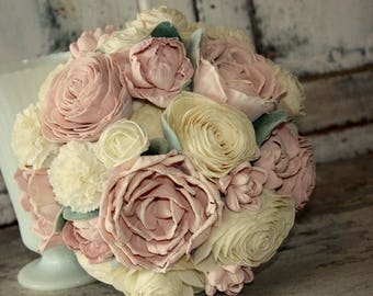 Blush wedding bouquet, brides pink sola flower bouquet, sola wood wedding flowers, blush wooden flower bouquet, eco flowers, paper flower