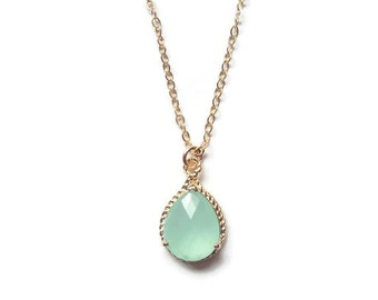 Gift Mint necklace Aqua necklace Chalcedony necklace Mint green necklace Aqua chalcedony necklace Bridesmaid necklace Bridal necklace Gift