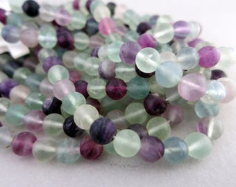 "6mm Fluorite Round Matte Beads, 8"" Strand,  Natural Stone Beads, Ready to Ship!"