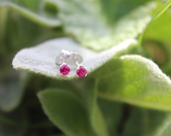 July Birthstone Gift, 3mm Ruby Stud Earrings, Sterling Silver, Round Cut Gemstone, July Birthday Gift