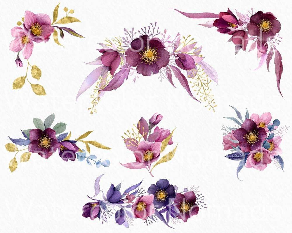Purple Hibiscus Flowers Watercolor Clipart Floral Clipart Fondos