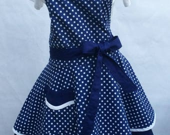 Women's Flirty Sweetheart Pinup Apron-Royal Blue Polka Dot