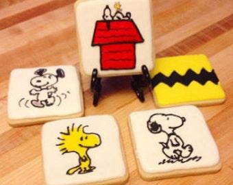 Peanuts decorated sugar cookies