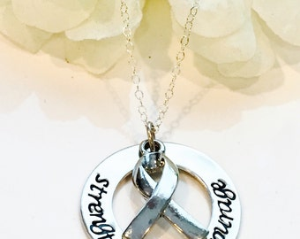 Hand Stamped Cancer Awareness  Necklace- Cancer Necklace-Breast Cancer Necklace-Breast Cancer Ribbon Necklace-Strength Faith Courage Cancer