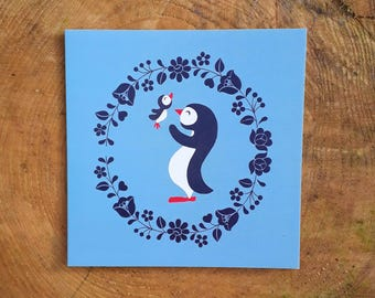Square card- 'Penguin Love'