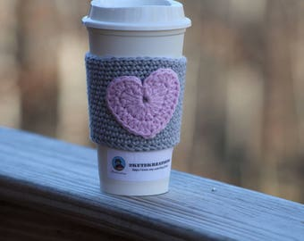 Coffee sleeve, cup cozy, cup sleeve, Coffee cozy, coffee gift, gift mom gift, best friend gift, coworker gift, heart, teacher gift