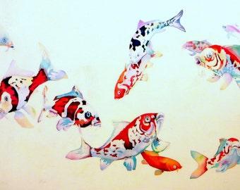 Anniversary gifts Batik wall hanging Wall art Original watercolor Gift for birthday Japan Koi painting Home gallery Modern painting fish art