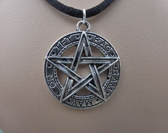 Silver Tetragram Pentacle Pendant - Pentagram - Adjustable Black Choker Necklace - Goth - Pagan - Wiccan
