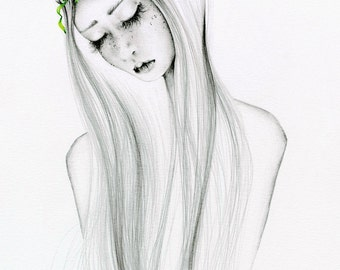 Bohemian Art Print of my Original Pencil Drawing Illustration Bohemian Boho Chic Girl Drawing of a Girl Gift For Her Giclee Illustration