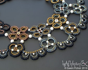 Beaded Lace Collar in  Black Bronze Pearl