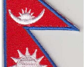 Small Nepal Flag Iron On Patch 2.5 x 1.5 inch Free Shipping