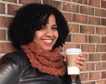 Hand Knit Infinity Scarf | Hand Knit Scarf | Loop Scarf ||| THE LACEY SCARF in Warm Cinnamon