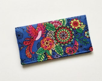Blue Floral Fabric Checkbook Cover, Bird Checkbook Wallet Cover, Checkbook Holder, Checkbook Case for Her