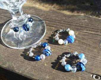 Thin Blue Line Wine Charm Set - Set of 4 - Law Enforcement Support - LEO - Police Wife Gifts