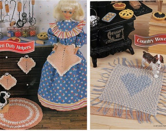 Kitchen Duty Helpers and Country Woven Rug Patterns Annies Fashion Doll Crochet Club FCC08-04 & FC27-04