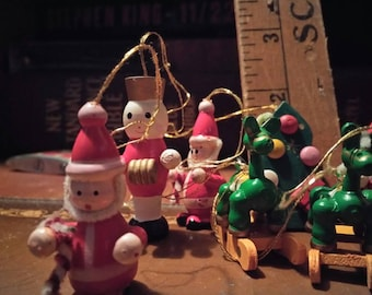 Mini Wooden Ornaments, Christmas Tree, Santas,  Angels,  Rocking Horses and Toy Solider, Frosty the Snowman