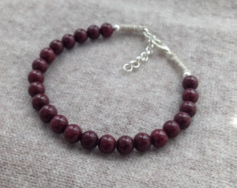new Burgundy wine pearl bracelet natural jade reiki lithoterapie hand made round