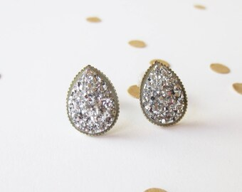 Silver Teardrop Druzy Stud Earring, Silver Druzy, Bridal Earrings, Bridesmaid Earrings, Silver Studs, Teardrop Earring, Triangle Earrings