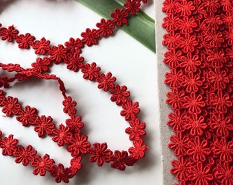 Cotton Lace Trim, Scarlet Red Trim, Red Cotton Lace, Red Cotton Trim, Craft Decoration Trim, 1.2 cm trim, Narrow Lace, Ships free with other
