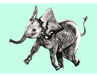ELEPHANT! 8x10 (Giclée Print of Original Gouache + Ink Painting)