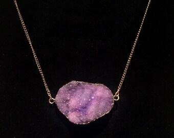 Purple Agate Druzy Quartz Layering Geode Gemstone Gold Chain Necklace