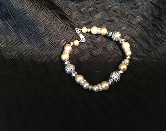 Ivory/Silver Swarovski Pearls and Crystals.