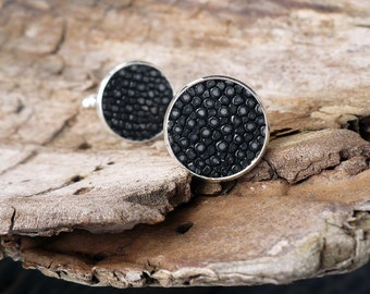 Cuff links with black polished stingray leather, Valentines gift for him
