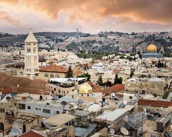 Jerusalem Old City, Israel Photography, Jerusalem, Dusk, Old City, Jerusalem Roof Tops, Holy City, Golden Colors, Fine Art Photography