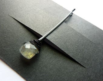 Labradorite Square Bobby Pin - Gemstone Bobby Pin
