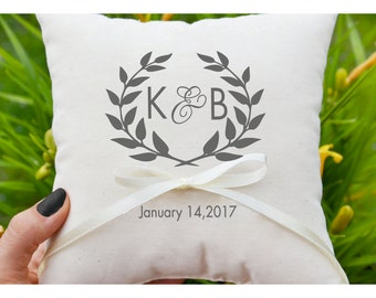 Personalized Ring bearer pillow, Wedding ring pillow , wedding pillow ,ring holder , monogram ring bearer pillow , custom pillow (R51)