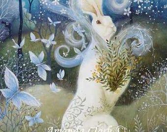Limited edition Giclee of 'Abundance' by Amanda Clark. Fairy tale art and illustrations, wildlife art, hares,
