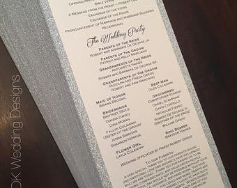 Silver Glitter program / Glitter Wedding Program / Wedding Programs