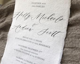 WEDDING INVITATIONS|Set #101 (Organic Wedding Invitations, Earthy Wedding, Elegant, Classic, Deckled Edge Paper)