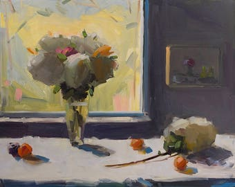 Hydrangea Window,  Archival Print of Amy Brnger Oil Painting