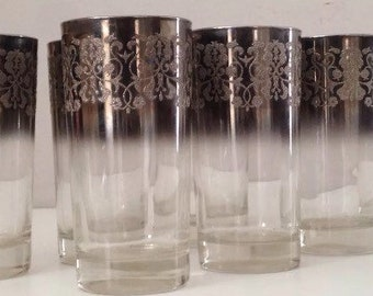 Set of 7 Vintage Dorothy Thorpe Style Embellished Cups Silver Overlay Tall Drinking Glasses