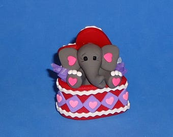 Polymer Clay Elephant in Red Valentine Heart Box