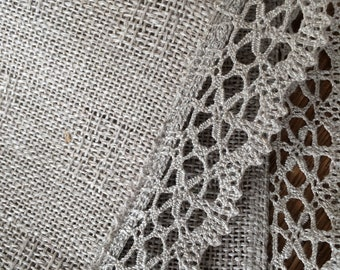 Natural gray handwoven table runner Tablecloth Coffee table runner
