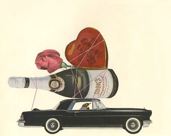 Looking for love in all the wrong places. Original collage by Vivienne Strauss.