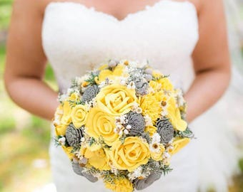 Sola flower bouquet etsy yellow and grey wedding bouquet sola flowers mightylinksfo
