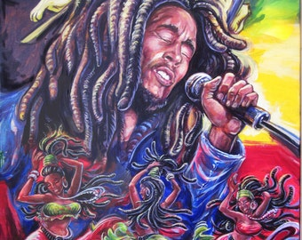 """The Bob Marley Print is a replica of Art By Dano's original painting """"Three Little Birds"""""""